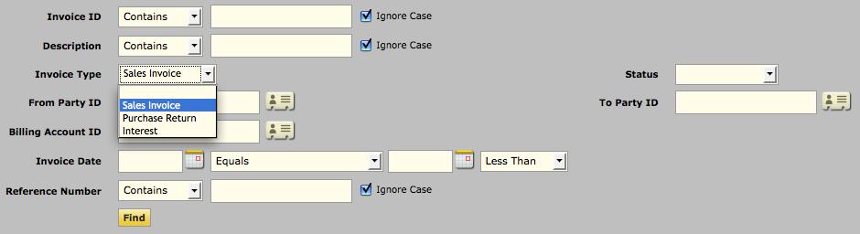 Types of Invoices in OFBiz