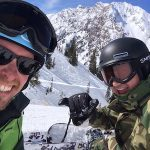 Kelly Abbott and Mike Bates on the slopes