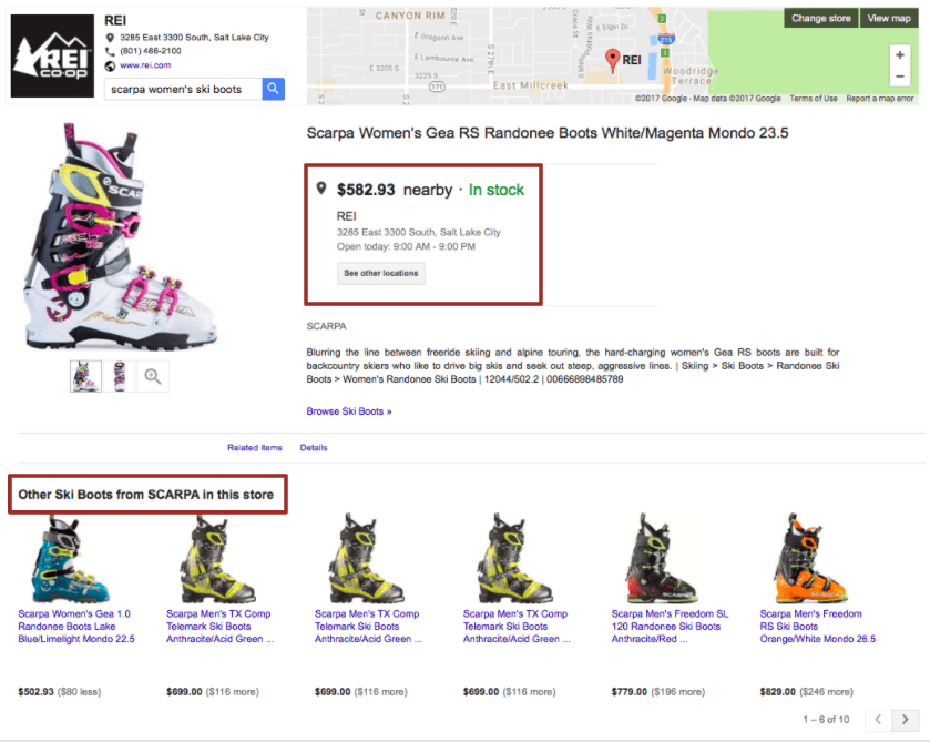 An example of viewing Scarpa Ski Boots in REI's Google Local Frontstore -An example of viewing Scarpa Ski Boots in REI's Google Local Frontstore - HotWax Systems