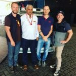 HotWax Systems' Mike Bates (CEO), Jacopo Cappellato (CTO), Scott Gray (Software Developer) and their lovely cab driver