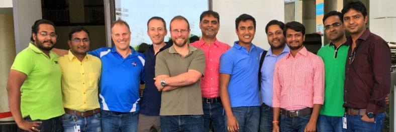 Mike Bates, HotWax Systems CEO, keeps in touch with the Indore team throughout the day, but also visits the office every year. Here he is with Jacopo Cappellato, CTO, Anil Patel, COO, Ashish Vijaywargiya, VP of Operations, and John Bates, Leadership Communication Expert and International Speaker
